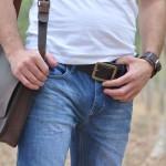 חגורת עור חומה אלגנטית לגבר מעוצבת בעבודת יד