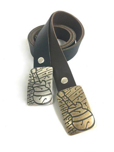 חגורת עור לגבר בצבעים שחור וחום - דגם גיטרה