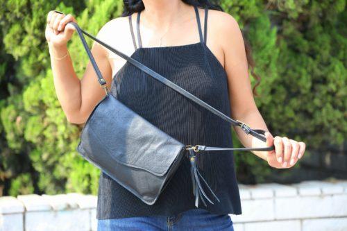 תיק עור שחור לאישה מעוצב לערב עשוי בעבודת יד